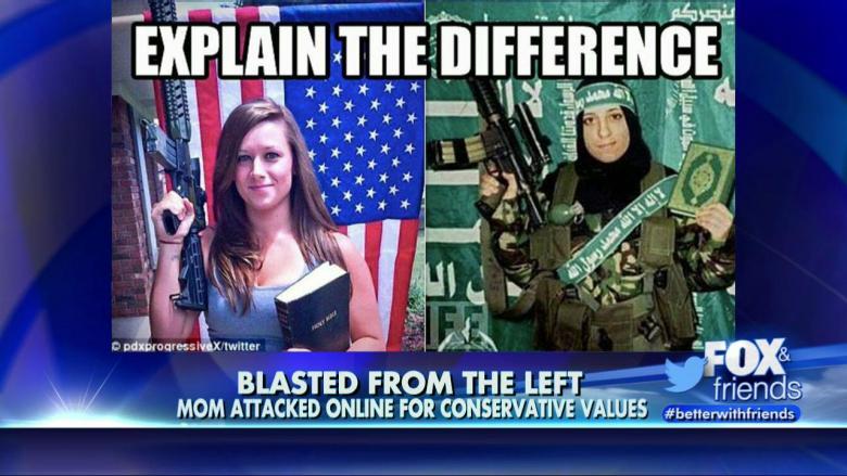 Fox News pahastui, kun vasemmistomädättäjät rinnastivat kuvan kivääriä ja uskonnollista kirjaa esittelevästä naisesta toiseen kivääriä ja uskonnollista kirjaa esittelevän naisen kuvaan.