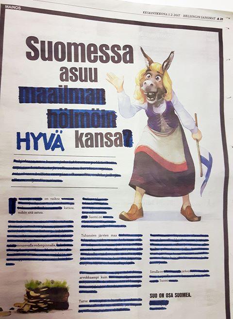 Suomen luonnonsuojeluliitto korjasi hieman tätä Turveinfon mainosta. Pahimmat valheet viivattiin yli ja kyllähän sieltä sen jälkeen jotain järkeäkin löytyi. SLL:n kommentteja suoympäristön suojelusta löytyy täältä [http://www.sll.fi/mita-me-teemme/suot/tavoitteemme].