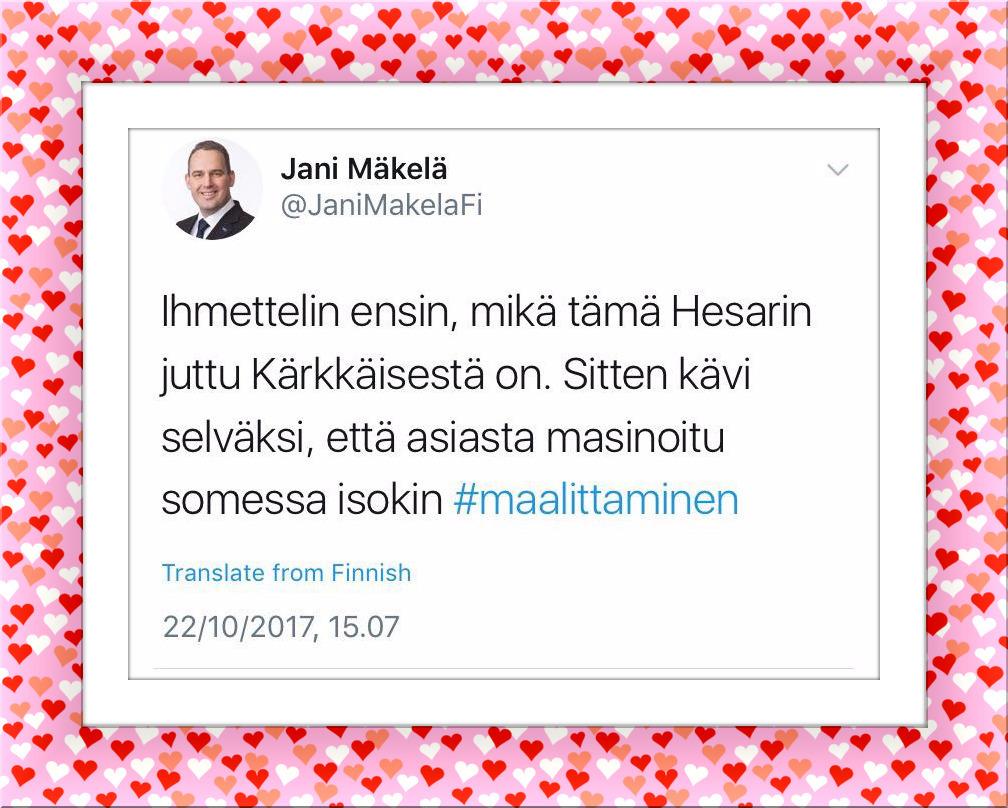 Juuh elikkäs. Tämä mies käyttää äänestäjiltä saamalla mandaatilla lainsäädäntövaltaa Suomen eduskunnassa.