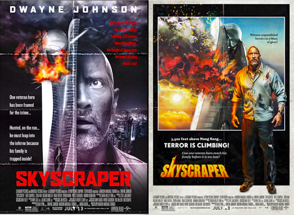 """I had these ultra cool vintage posters made paying homage to the two classic movies that inspired me and generations, and became the inspiration for our film SKYSCRAPER.  My respect & luv to the GOAT's - Willis, McQueen & Newman. #DieHard #ToweringInferno"" – Dwayne Johnson"