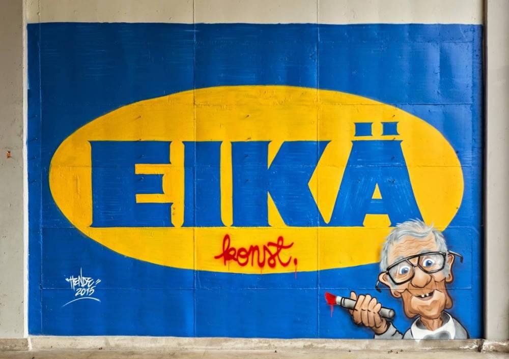 Graffititaiteilija Hende kävi maalaamassa EIKÄ-teoksen seinään, kuvasi sen, teetti kuvasta julisteita ja salakuljetti ne Ikean myymäliin odottamaan pahaa-aavistamattomia asiakkaita. Lisää ko. projektista täällä.