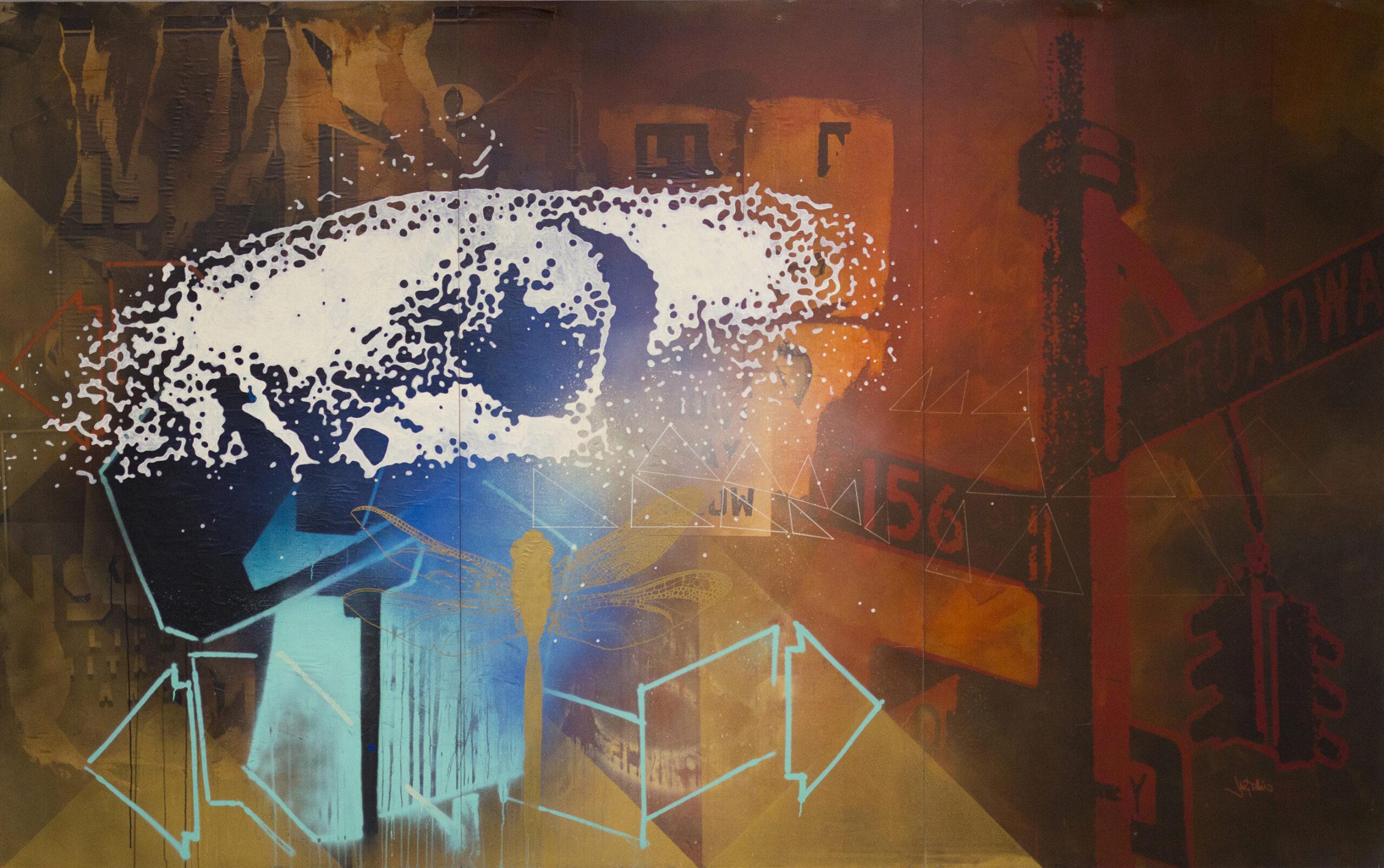 Jani Tolin: Controlled Enviroment. Sekatekniikka 2013. Myös Jani tolin on ottanut aimo harppauksia perinteisestä graffitista. Hänen Keravalla esillä olevat teoksensa putoavat huoletta post-graffiti-määritelmän piiriin.