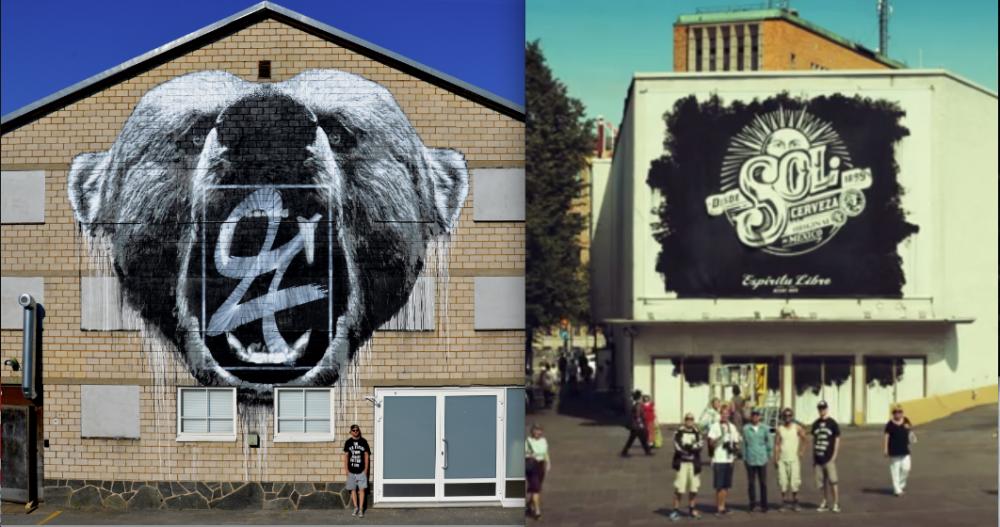 Vasemmalla: Tämä ei ole mainos, vaan Porin taidemuseon tilaama julkinen taideteos. Oikealla: Tämä ei ole taideteos, vaan olutmainos Stadissa.
