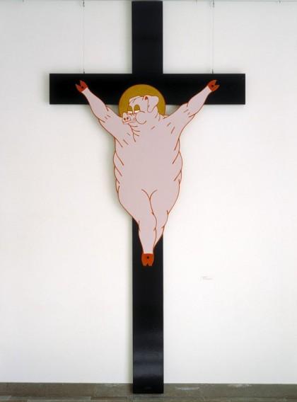 Koskisen vuonna 1969 Taidehallissa esitelty Sikamessias ei ollut pyrkimys uskonnolliseen pilkkaan. Teos oli  osa sarjaa, jossa suomalaiset esitettiin sikoina ja on vain loogista, että sikojen messiaskin on sika. No, sakothan siitä napsahtivat ja Kekkonenkaan ei voinut taiteilijaa armahtamaan, koska taiteilija ei suostunut tunnustamaan rikosta (joka oli armahduksen ehto). Maksettavaksi jääneet sakot olivat nykyrahaksi muutettuna reilu 20 000 euroa.