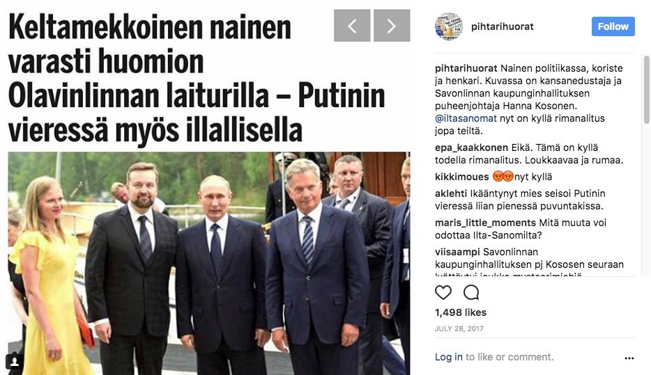 Pihtarihuorien Instagram-seinällä on osallistuttu aikalaiskeskusteluun myös kommentoimalla typeriä lööppejä.