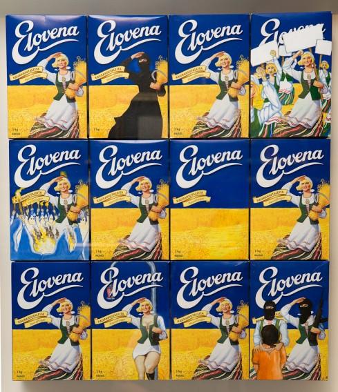 Vuonna 2007 Raisio Oyj lähestyi taiteilija Jani Leinosta uhkailevalla kirjeellä. Raisio väitti Leinosen Elovena-paketteihin maalaamien teosten rikkovan yhtiö tavaramerkkiä. Leinonen kehysti kirjeen ja ripusti sen näytille seuraavassa näyttelyssä, eikä uhkailuista kuulunut sittemmin.