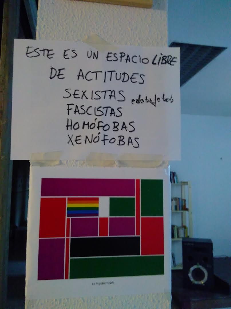 """La Ingobernablen säännöt käyttäjille: """"Tässä tilassa emme hyväksy seksistisiä, fasistisia, homofobisia tai rasistisia asenteita."""""""
