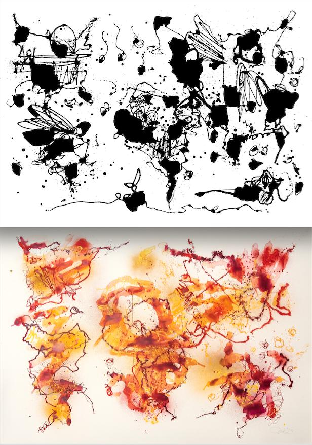Teokset Treaty of Jeddha (yllä) ja I watched the shadow of our plane hastening below us toimivan hienoina esimerkkeinä Egsin abstrakteista kartoista. Alkujaan kartat olivat poikkeuksetta mustavalkoisia, mutta vähitellen niihin on ilmestynyt myös väriä. Kaikuja Egsin graffititaiteesta löytyy myös kartoista, joihin taiteilija maalaa aina nimikirjaimensa. Kiinnostunut katsoja voi aloittaa vaikka paikallistamalla Amerikan mantereiden muodostaman e-kirjaimen.