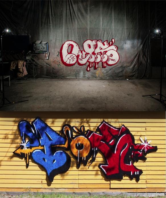 Sekä EGS että POE ovat kirjoittaneet nimimerkkinsä seinään lukemattomia kertoja sekä spraymaalilla että tusseilla. Tällä kertaa heidän nimensä kirjoitti Niina Mantsinen ja villalangalla. Hetken aikaa ryijyt roikkuivat itselleen epätavallisessa paikassa.