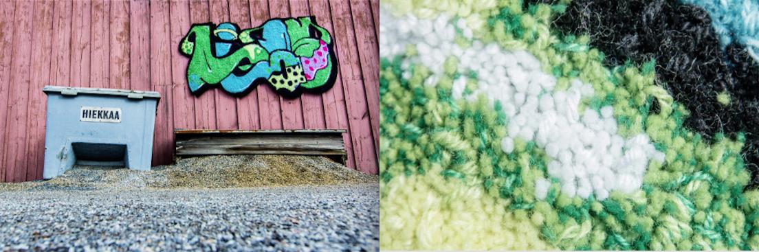 AIES X Mantsinen. Kuvassa vasemmalla Mantsisen tulkinta AIESin graffitista. Oikealla lähikuva tuon tulkinnan struktuurista.
