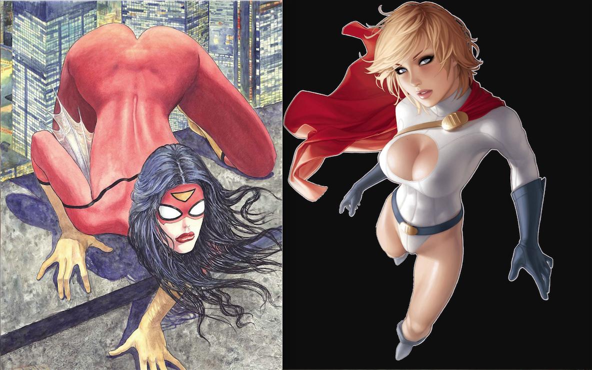 Tässä alan hieman tunkkaisempia näkemyksiä siitä, miltä naissankarit näyttävät. Milo Manaran näkemys Spider-Womanista ja Hendry Prasetyan tulkinta Power Girlistä jakavat näkemyksiä.