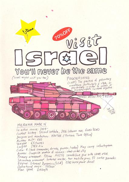 """Israeliin on houkuteltu turisteja sloganilla """"You'll never be the same"""" [""""Et ole koskaan entiselläsi""""]. Maan matkailumainoksissa vältellään miehitykseen liittyvien kysymysten käsittelyä samalla, kun ylistetään suvaitsevaisuutta. Riiko Sakkinen kiinnitti tähän huomiota Visit Israel -teoksessaan."""