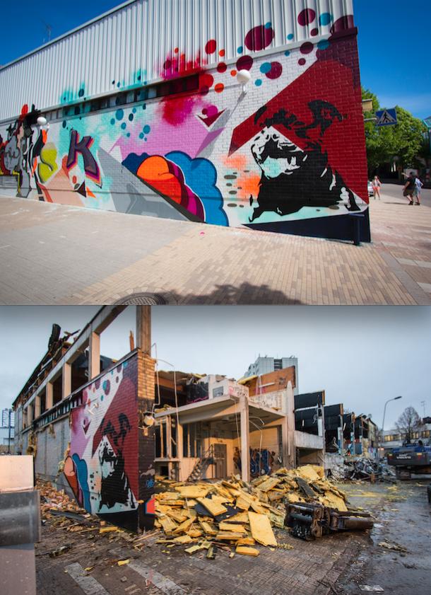 Ennen ja jälkeen tuhon. Ensimmäisessä kuvassa Skienin valmis teos ja toisessa sama teos hetkeä ennen lopullista tuhoa. Kuva: Jouni Väänänen