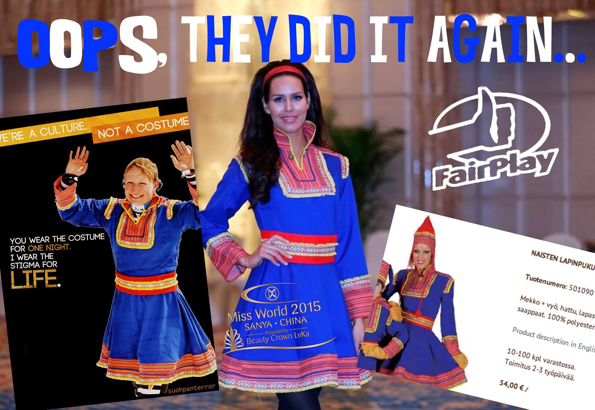 Alppihiihtäjä Tanja Poutiainen juhlisti uransa loppua pukeutumalla saamenpukuun. Carola Miller puolestaan edusti Suomea Miss Maailma -kilpailuissa samoin saamenpuvussa. Kumpikaan henkilöistä ei ole saamelainen, eivätkä puvutkaan oikeasti olleet sitä. Monet saamelaiset kokivat nämä pukeutumisratkaisut syvästi loukkaaviksi.