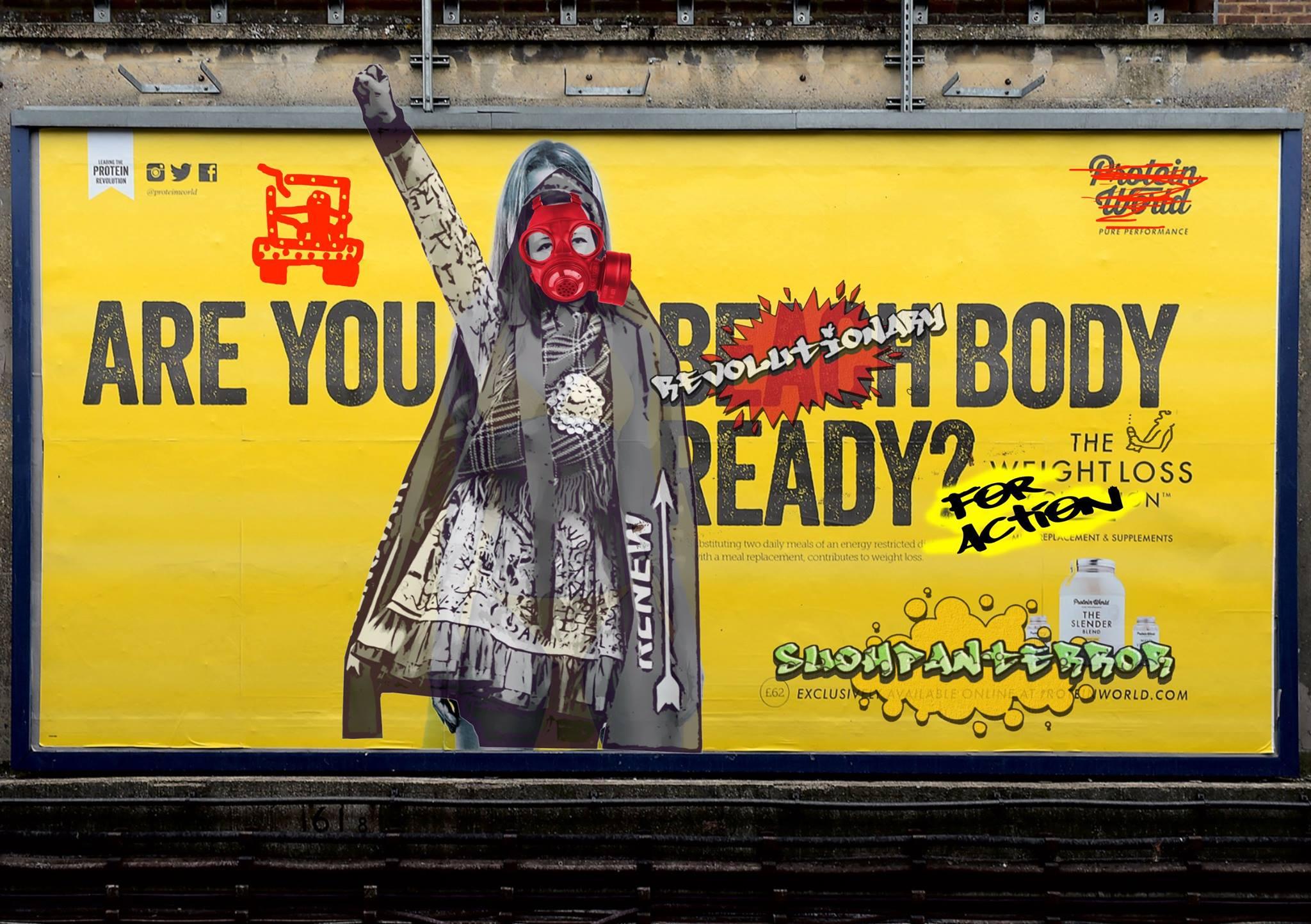 """Suohpanterror lainasi tämän teoksen pohjaksi kohua Lontoon metrossa herättäneen Protein Worldin mainoksen. Paheksuttu mainos kysyi: """"Are You Beach Body Ready?"""" Suohpanterror vaihtoi viestin ja mallin. Lisää alkuperäisestä mainoksesta, joka osaltaan siivitti seksististen mainosten kieltoon Lontoon metroissa: http://hairikot.voima.fi/blogi/rantakunto-ja-paremmat-mainokset-nytten/"""