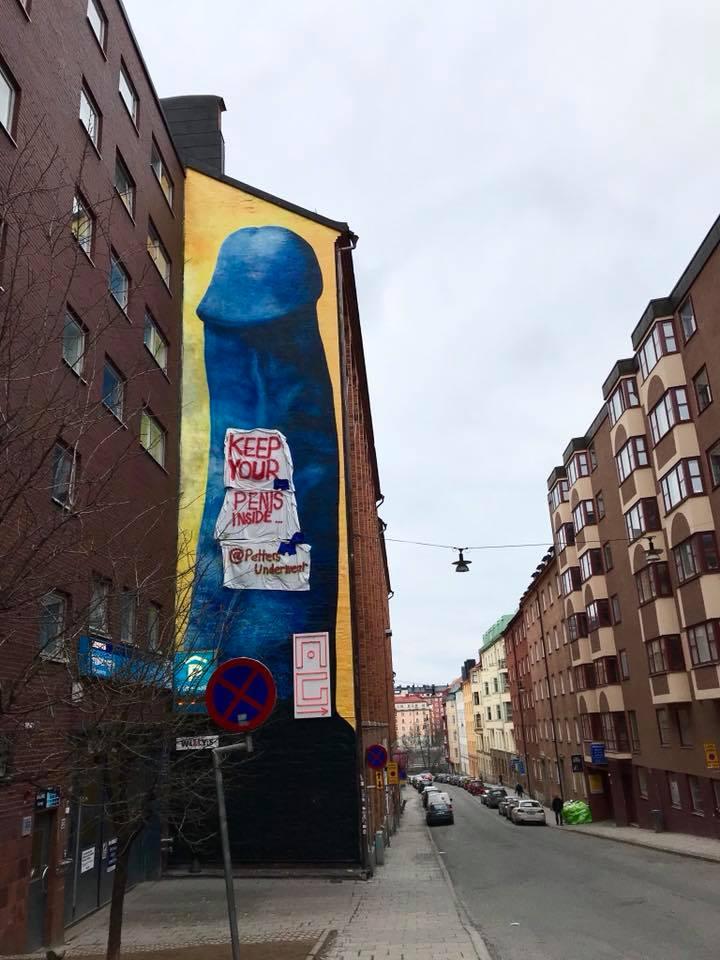 Pippelien lisäksi Carolina Falkholt on maalannut talojen seiniin myös naisten genitaaleja. Hieman yllättäen ne eivät ole herättäneet samanlaista vastustusta ja skandaaleja kuin hänen maalaamat penikset.