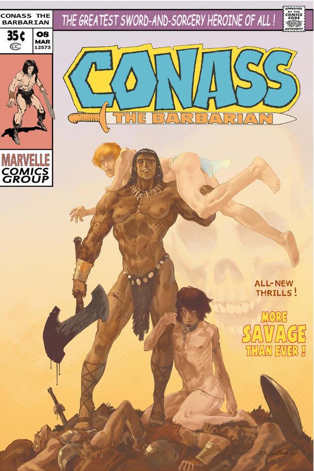 Virginie Augustinin Conass toisintaa Conan-sarjakuvista tutun kuvaston ja asetelman uskollisesti, vain yhden asian muuttaen.