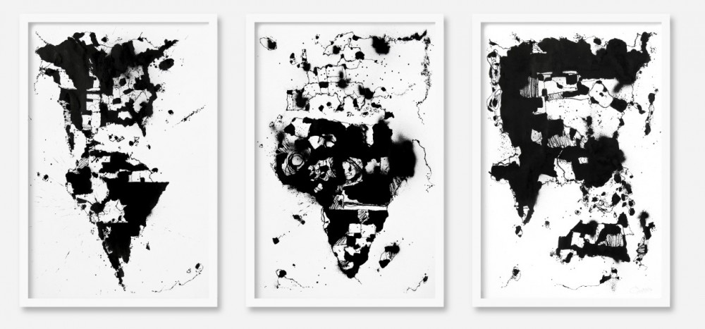 Egs: World Map Triptych. Muste paperille, 2013