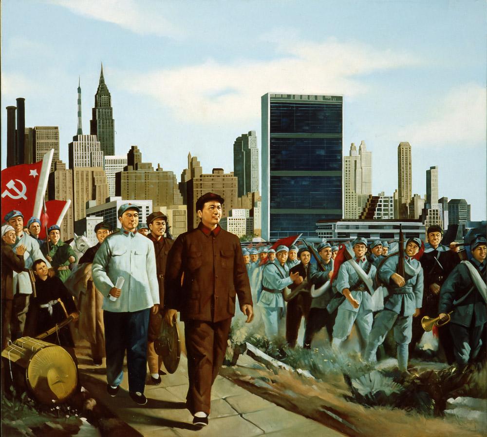 ERRÓ: NEW JERSEY (1979). Turun taidemuseon näyttelyssä nähdään sekä Errón alkuperäinen kollaasiversio että suuri öljyvärimaalaus Maon suuresta marssista New Jerseyssä.