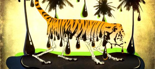 Tiikeri hiipii tuhotussa metsässä