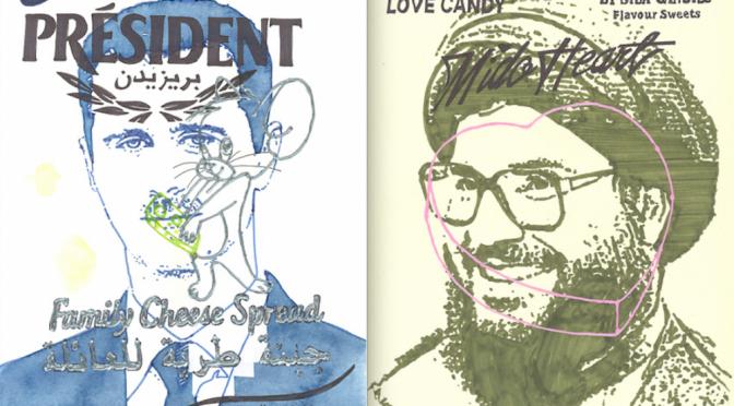 Bas & Hiz. Vasemmalla: Bašhar al-Assad on Syyrian arabitasavallan presidentti. Président on ranskalainen juustobrändi ja Jerry-hiiri on tuttu Tom & Jerry -piirretyistä ja sarjakuvista. Arabiankielisessä tekstissä lukee Syria for Dummies (kirjasarjan mukaan).  Oikealla: Hassan Nasrallah on Libanonista käsin toimivan shialaisen Hizbollah-järjestön johtaja. Mido Heart Love Candy -makeisia myydään useissa arabimaissa. Mido on yleinen lempinimi Muhammad ja Ahmad nimisille.