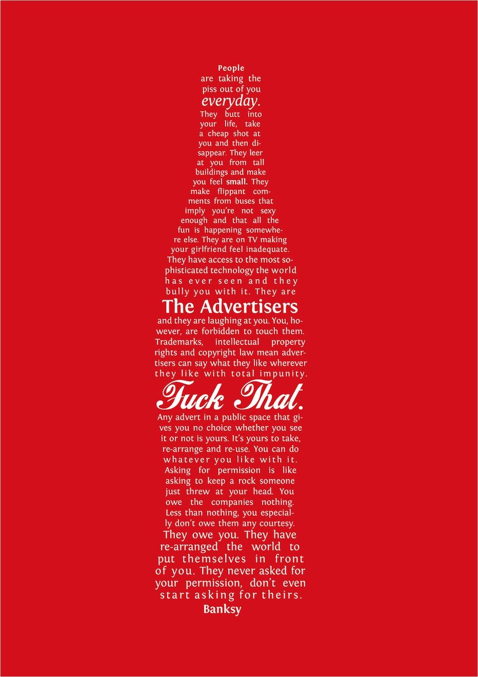 Tämäpä ei olekaan Cokiksen mainos vaan Banksyn taideteos. Ähäkutti Atlantaan.