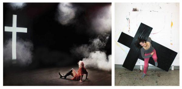 Ristinsä kullakin: vasemmalla Seela Sella kamppailee seksuaalisten ja uskonnollisten painolastien kanssa ja oikealla Saija Kivikangas kantaa taiteilijuuden raskasta riskiä.