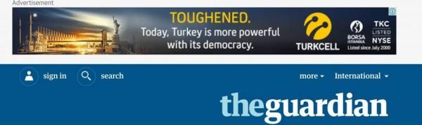 """Samalla kun Turkin hallitus suoritti puhdistuksia yliopistoissa, kouluissa, armeijassa ja tuomioistuimissa, Turkcell mainosti netissä ainakin brittiläisen The Guardianin lukijoille: """"Tänään Turkki on demokratiassaan voimakkaampi."""""""