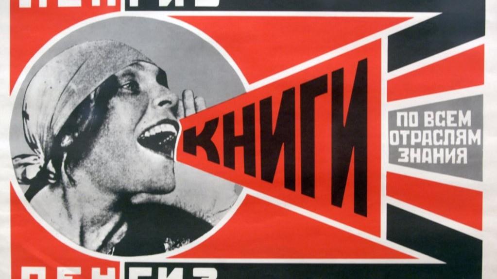 Kirjoja kaikilta tiedon aloilta! Koulutusta hehkuttava 1920-luvun lopun neuvostoajan juliste.