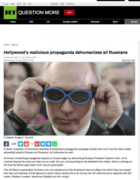 """RT:n vankkaa informaatiota 17.4. 2018 eräästä kanavan suosikkiaiheesta """"muu maailma vihaa Venäjää russofobisesti""""."""