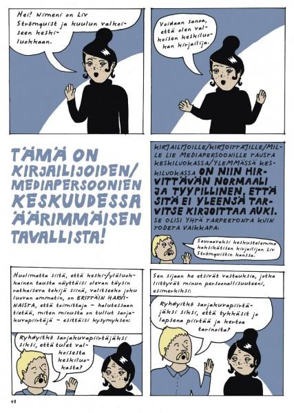 Ote Liv Strömquistin sarjakuva-albumista Nousu & tuho (Sammakko 2017).