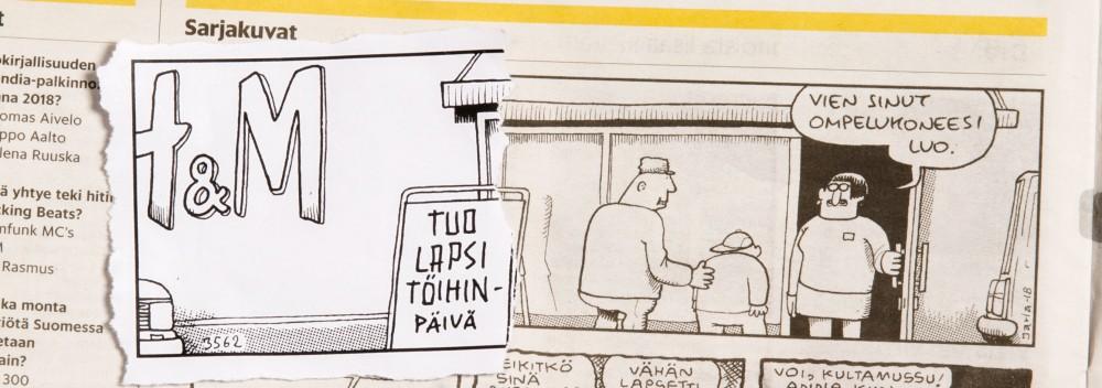 Helsingin Sanomissa julkaistu Fingerpori-strippi ja siitä poistettu osa.