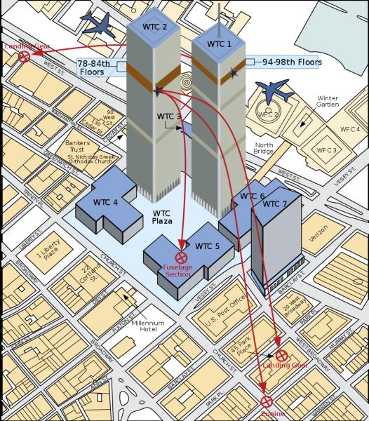 Kuva torneista ja lentokoneiden osumasuunnista