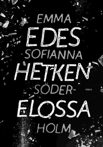 Kirjan kansi: teksti valkoista, tausta musta ja lasinsiruissa.