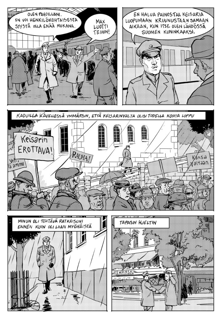 Sivu Anssi Rauhalan ja Matti Niemisen sarjakuvasta Väinö I.