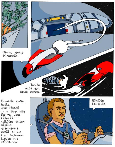 Sivu Jesse Matilaisen Avaruuspakolainen-sarjakuvasta