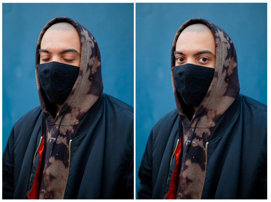 Kaksi kuvaa rinnakkain: toisessa Noah Kin silmät kiinni, toisessa auki. Sininen tausta.