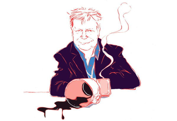 Kuvitus, jossa Markku Tuhkanen ja pöydälle kaatunut kahvi.