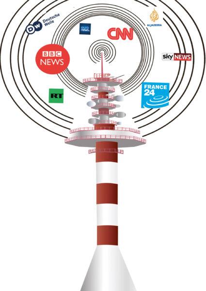 Kuvituksessa TV-torni, jonka yläosassa leijailee uutiskanavien logoja.