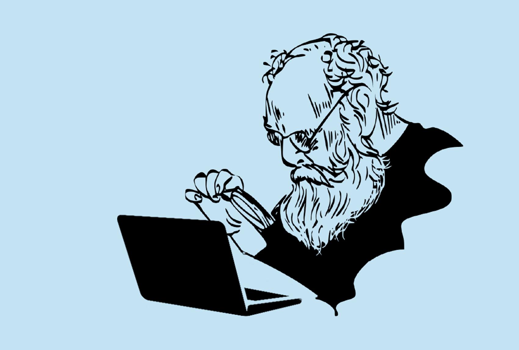 Kuvituksessa ikäihminen katsoo tietokoneen näyttöä suurennuslasin läpi.