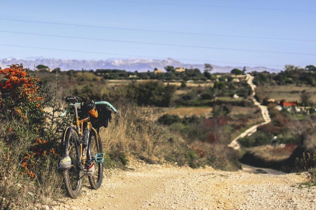 Polkupyörä parkkeerattu kukkivan pensaan viereen hiekkatien varrella etelä-eurooppalaisella maaseudulla.