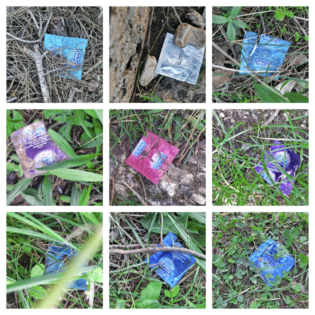 Yhdeksän kuvan kollaasi tyhjistä kondomipaketeista maassa