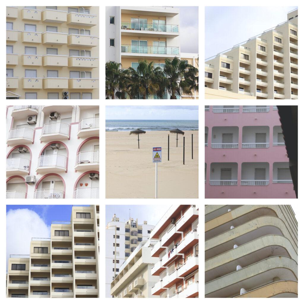 Yhdeksän kuvan kollaasi. Kahdeksan kuvaa tyhjillään olevista hotellirakennuksista. Keskellä tyhjä hiekkaranta.