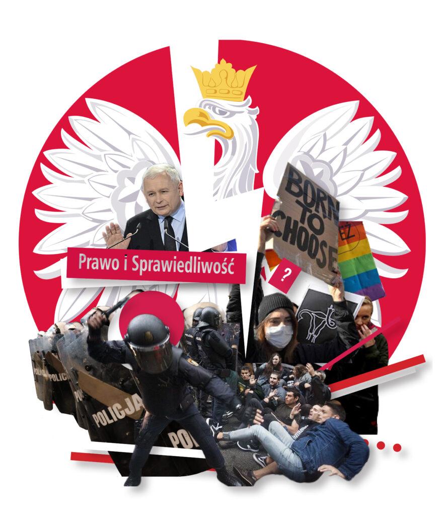 Kollaasissa esimerkiksi mellakkapoliiseja, mielenosoittajia, puhuva Jarosław Kaczyński.
