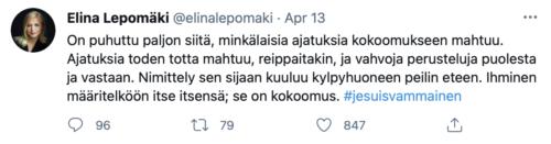 Näyttökuva Elina Lepomäen twiitistä.