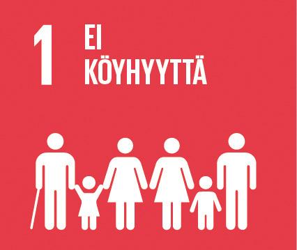 """Punaisella pohjalla teksti """"1 EI KÖYHYYTTÄ"""" ja kuvituksessa lapsia, vanhempia, kävelysauvaa käyttävä."""