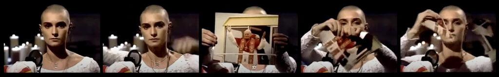 Kuvasarja, jossa O'Connor repii Johannes Paavali II:n kuvan.